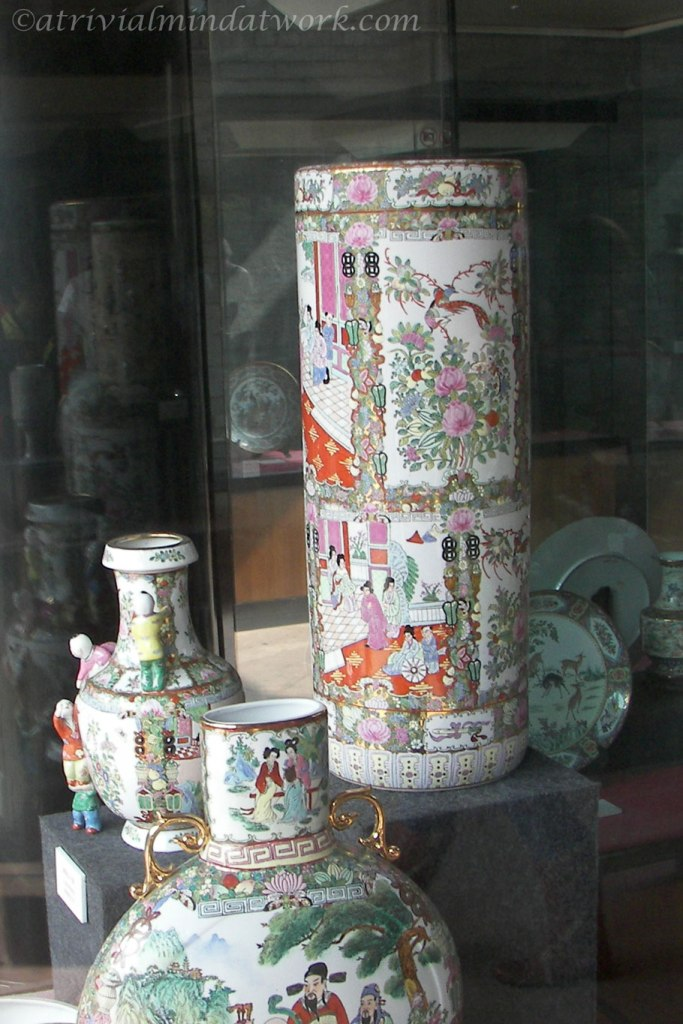 17th / 18th century porcelain vessels on display at the Chen Clan Academy