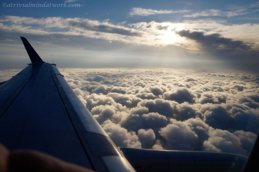 Approaching Houston after skirting around a large weather system