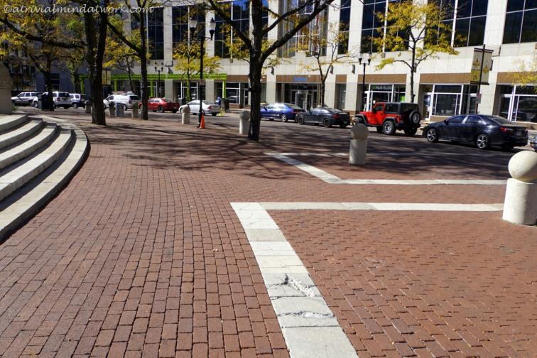 Monument Circle cobblestones.