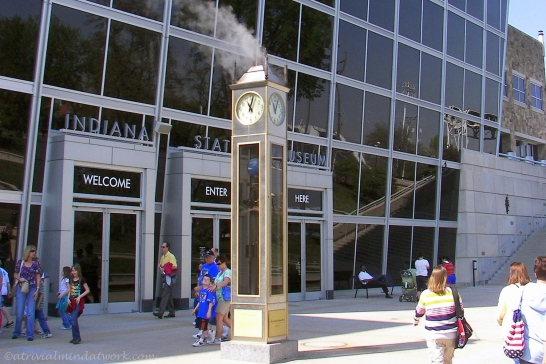 Steam-powered clock at Indiana State Museum.
