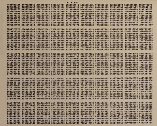 The first 5.000 decimal places of π