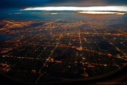 Looking from an airplane window at night.