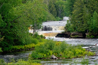 The Tahquamenon River snakes through the trees and over the falls.
