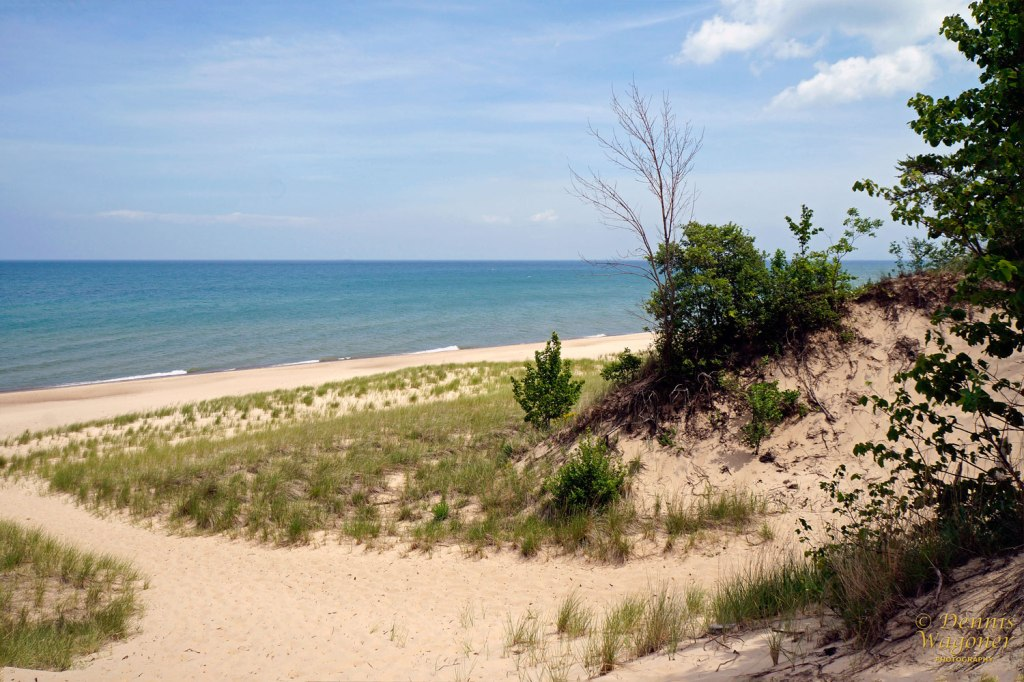 From the top of a sand dune overlooking Lake Michigan.