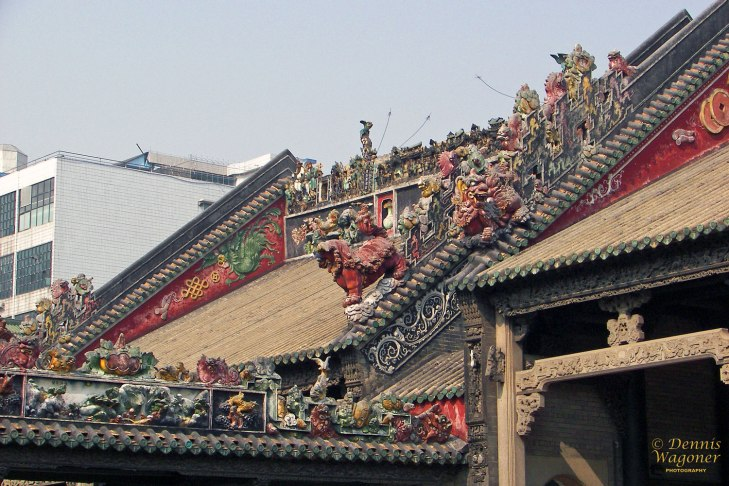 Ornate roof at Chen Clan Academy in Guangzhou.