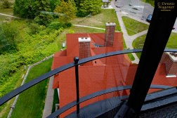 Looking down on roof from Iroquois Point Lighthouse.
