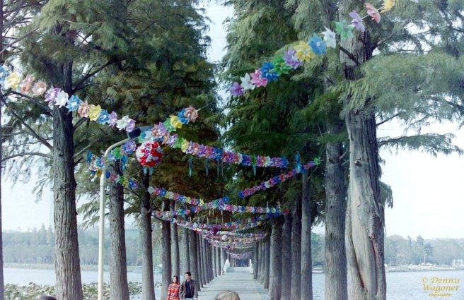 The walkway across East Lake in Wuhan, China.